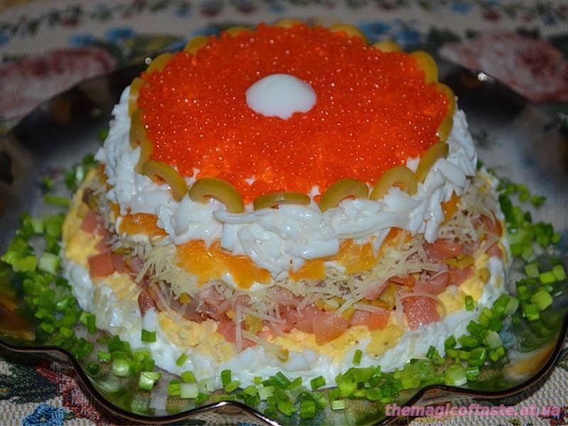 Салат праздничный с икрой рецепт